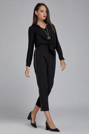 Gusto Kadın Siyah Beli Lastikli Yanı Şeritli Pantolon 20KG009128