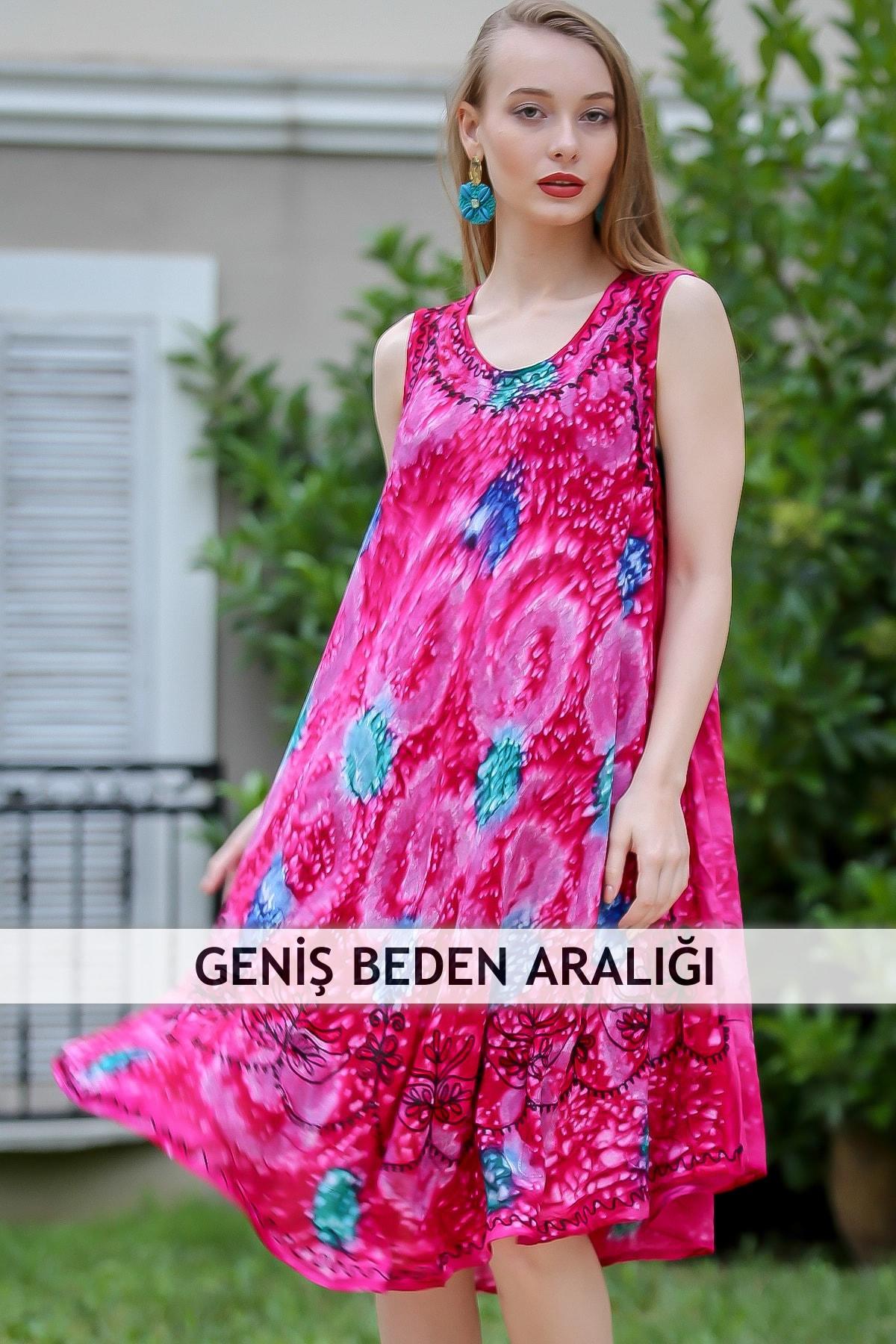 Chiccy Kadın Fuşya Bohem Nakış Detaylı Batik Desenli Kloş Elbise M10160000EL96678