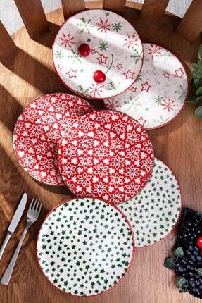 Kitchen Life 6'lı Özel Tasarım Handmade 21cm Pasta Tabak Seti