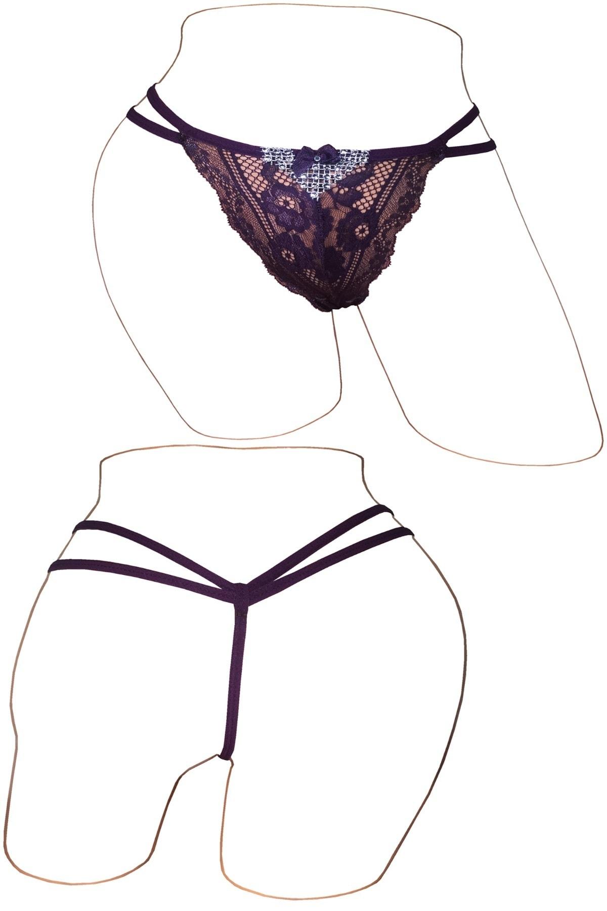 CottonStar Kadın Dantelli Taşlı String / Tanga 5'li Mix Paket 2