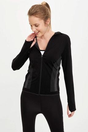 DeFacto Kadın Siyah Kapüşonlu Fermuarlı Sweatshirt R0641AZ.20SP.BK27