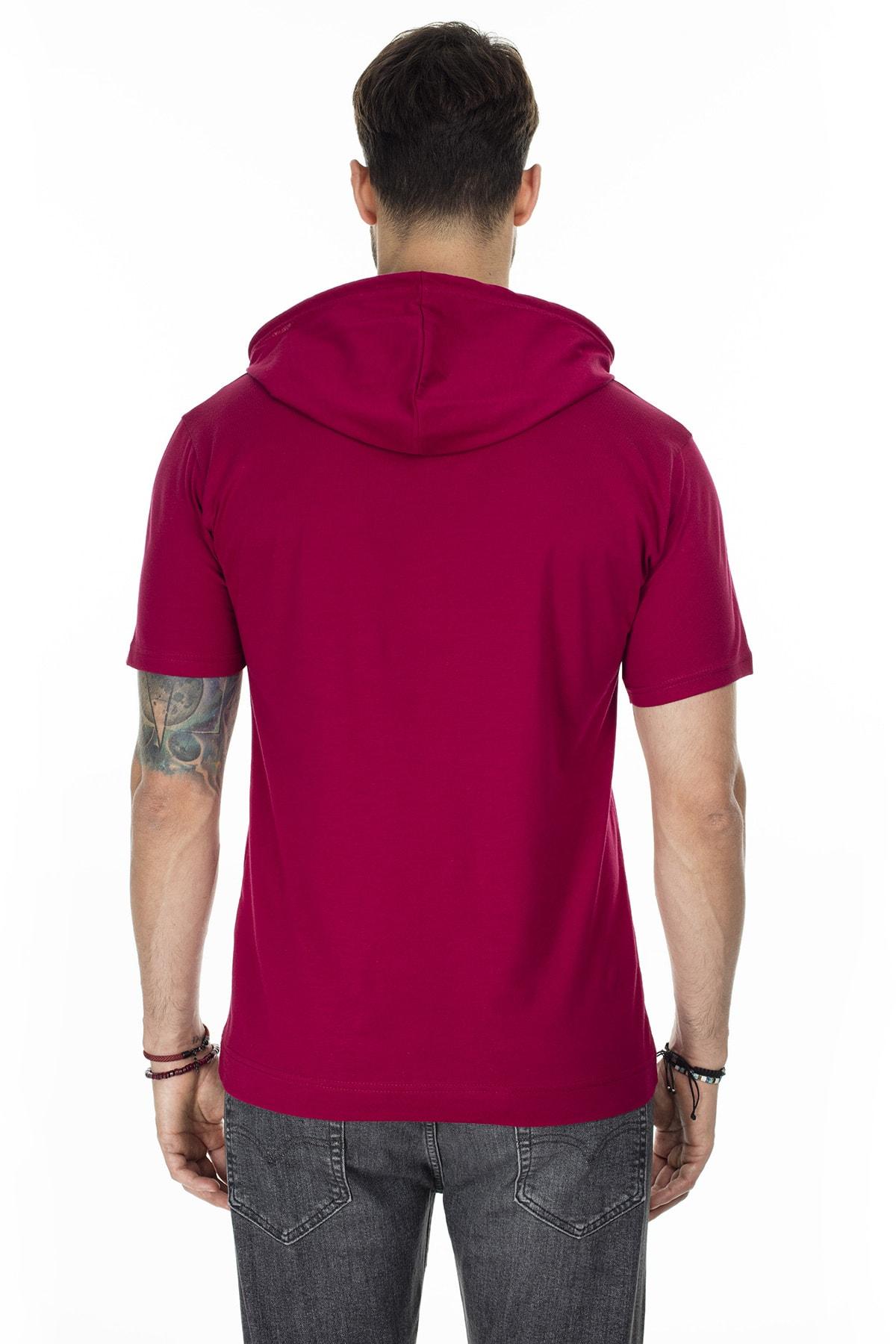 Buratti Erkek Bordo Kapüşonlu Pamuklu Slim Fit Basic T Shirt 5412021 2