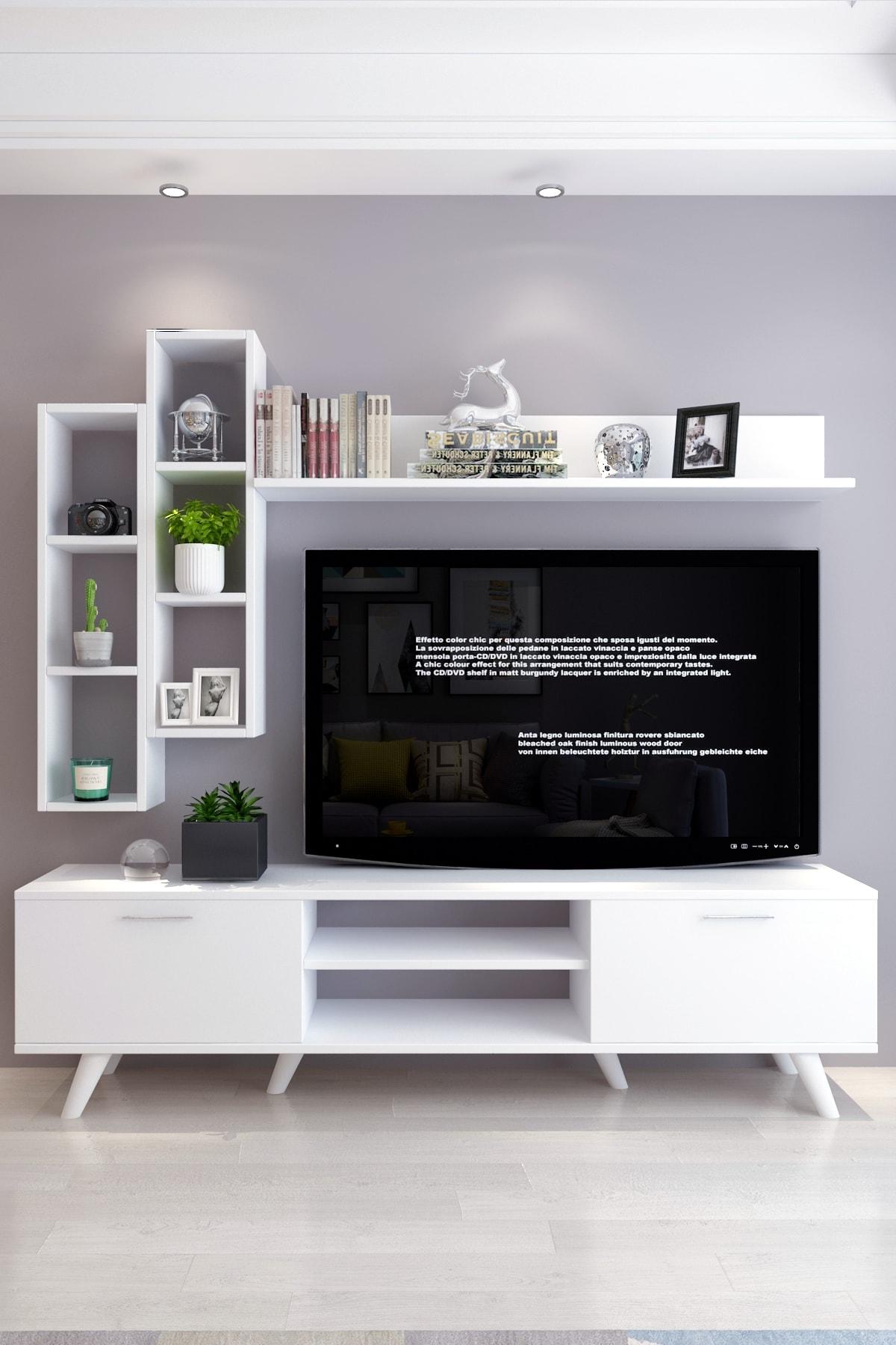 Moonlife İstanbul Dolaplı Tv Ünitesi 2 Beyaz 1