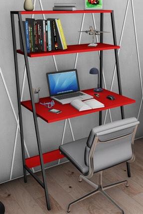 Moonlife Zambak Metal Kitaplıklı Çalışma Masası Kırmızı