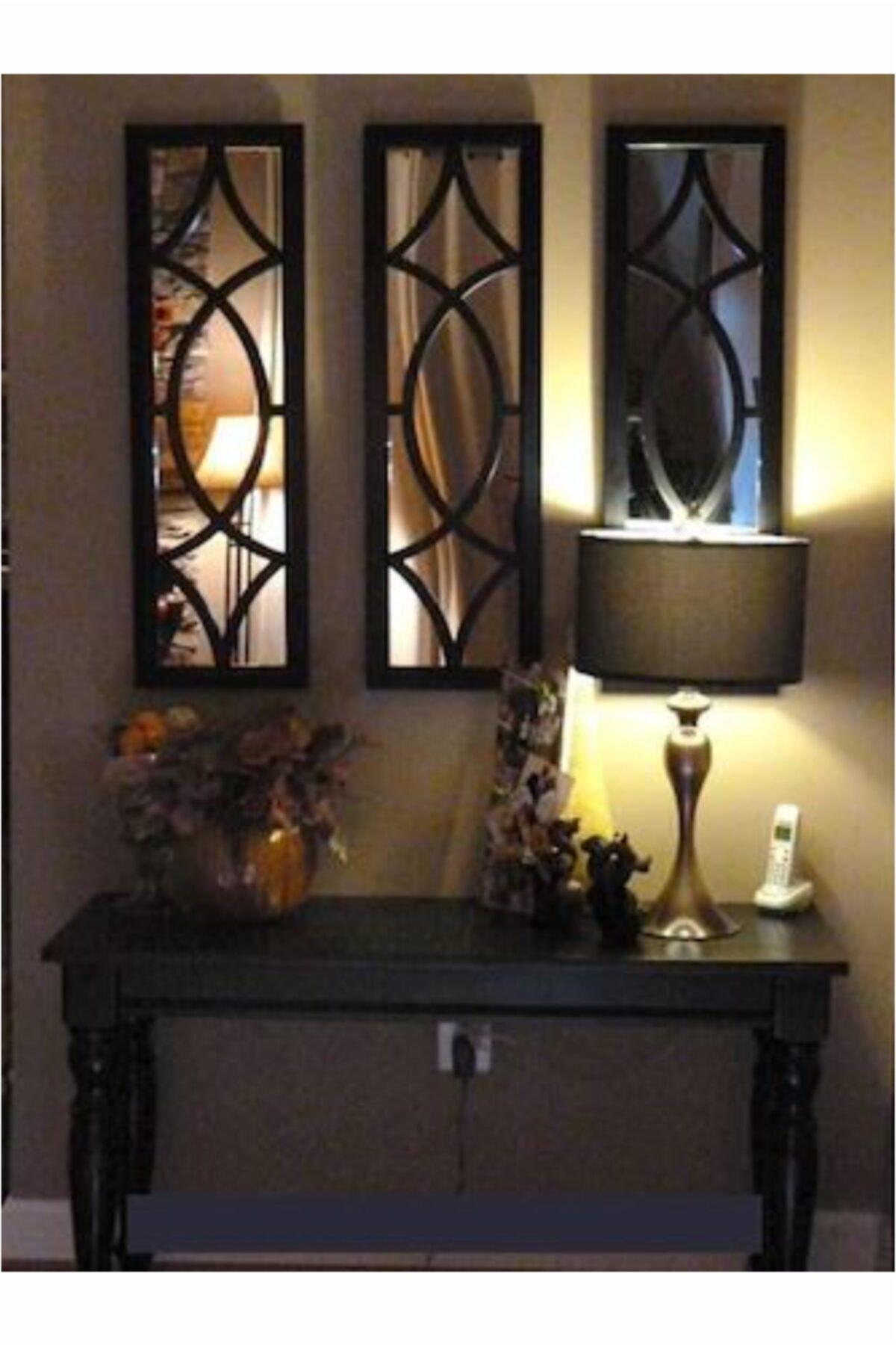 ahşapdekor Dekoratif Modern Üçlü Ayna 1