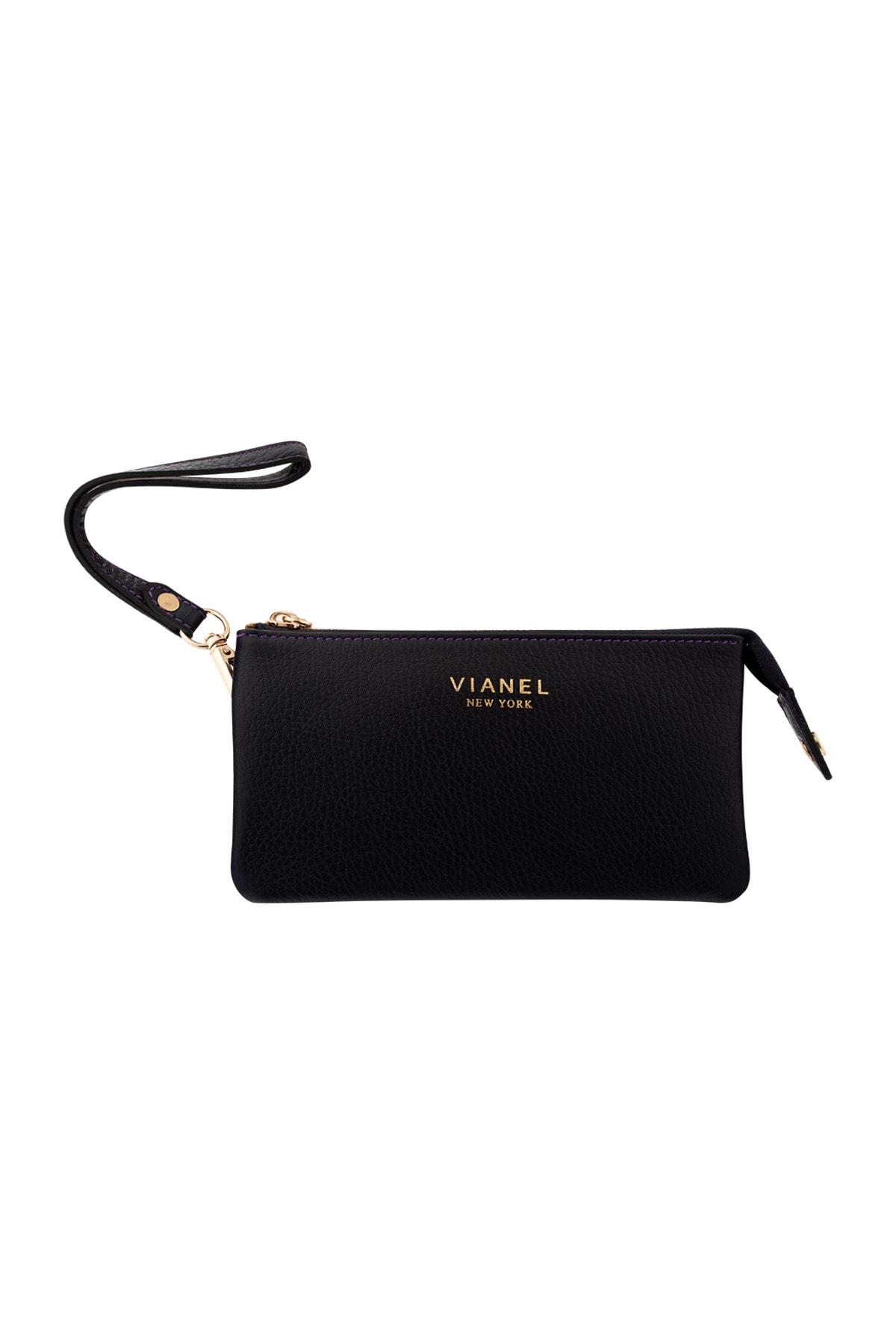 Vianel New York Verona Hakiki Deri Tulum Dikişli Siyah Mürdüm Kadın Cüzdanı 1