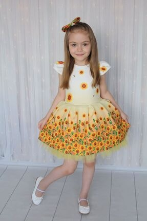 Tarz Çocuk Kız Çocuk Ayçiçeği Parti Elbisesi