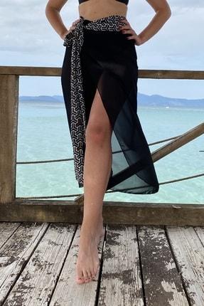 Rossa İntimo Belden Bağlamalı Uzun Şifon Siyah Geometrik Pareo Sarong