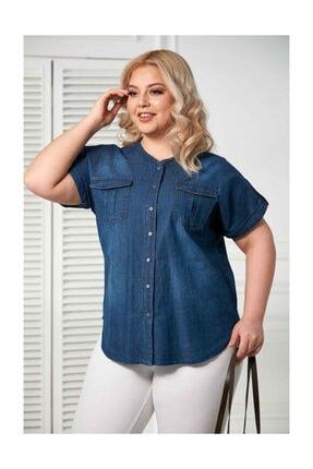 RMG Cep Ve Kol Detaylı Büyük Beden Mavi Gömlek
