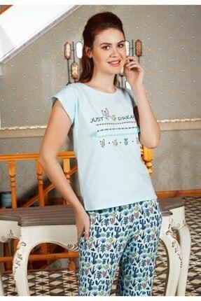 Anıl Kadın Yeşil Pijama 4 Mevsim Pamuklu Kaktüslü Üst Pantolon 2'Li Takım Anıl 9518