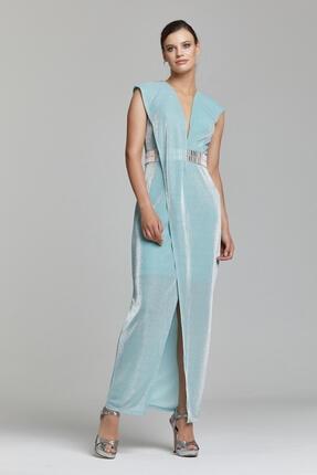 RENGIN Beli Aynalı Göğsü Derin V Dekolteli Elbise