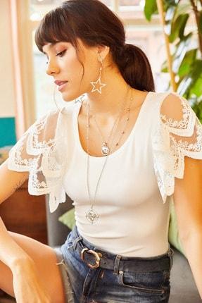 Olalook Kadın Beyaz Kolu Dantel Detaylı Bluz BLZ-19001010