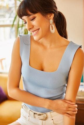 Olalook Kadın Bebe Mavi Kalın Askılı Yazlık Triko Bluz BLZ-19000853