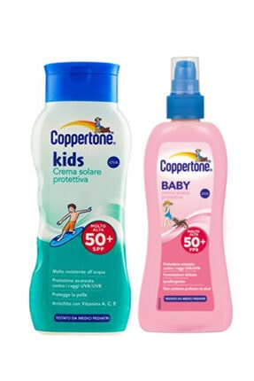 Coppertone Baby Bebek Güneş Koruma Losyonu Spreyli Spf 50 200 Ml + Çocuk Güneş Koruma Losyonu 200 Ml