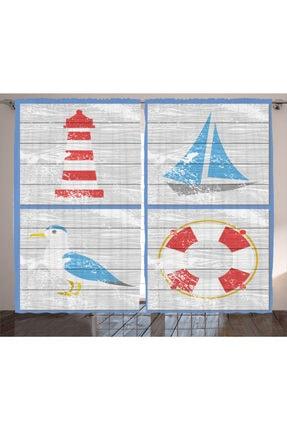 Orange Venue Denizci Perde Deniz Feneri Tekne Ve Martı Desenli