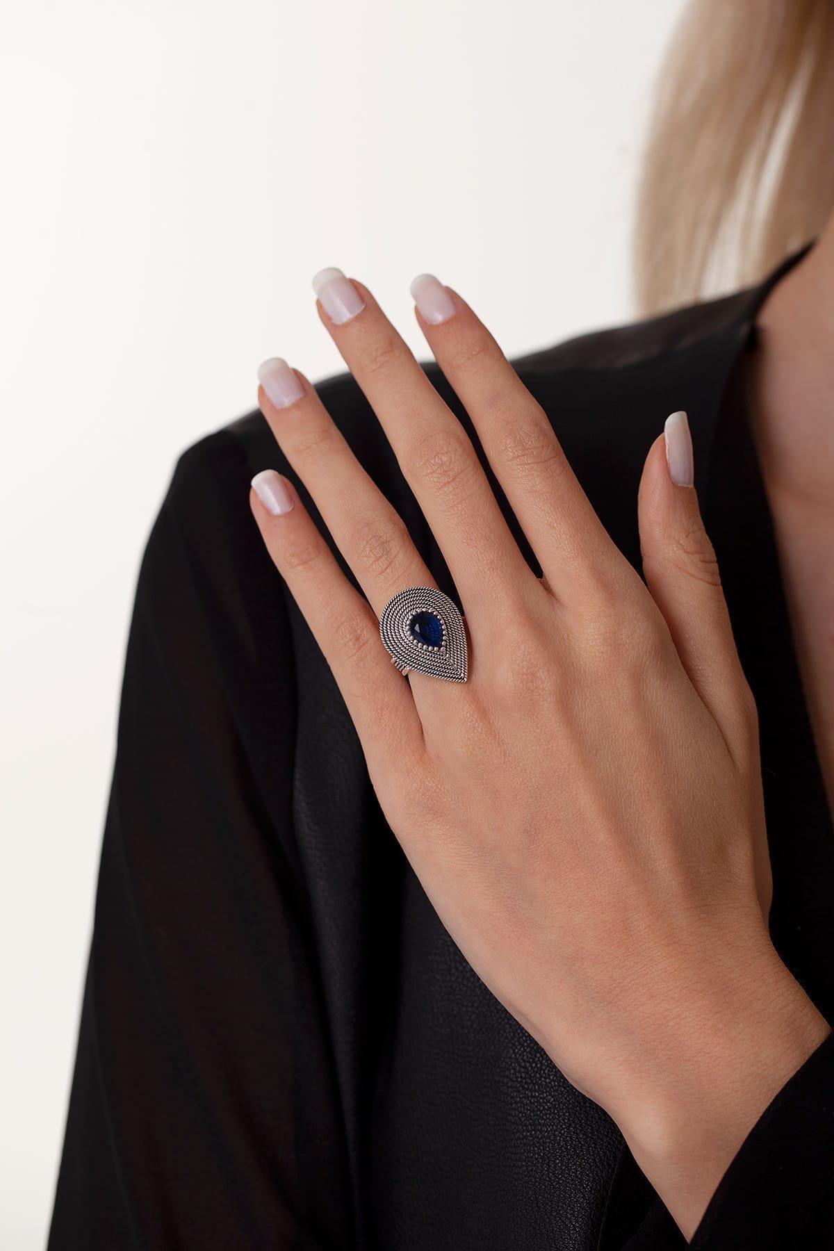 Ninova Silver Damla Model Safir Taşlı Mardin Hasırı Yüzük