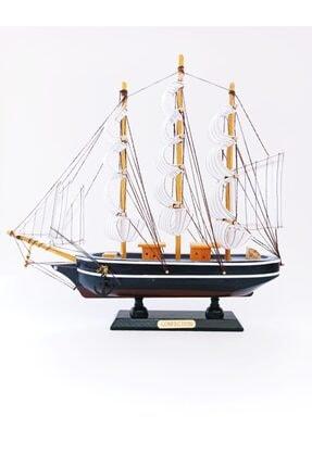 Deco Elit Ahşap El Yapımı Yelkenli Gemi Maketi Dekoratif Hobi 30 Cm -a
