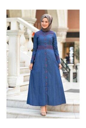 Tesettür Dünyası Nakışlı Kot Elbise MHR128 Koyu