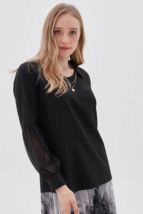 Kayra Kadın Siyah Fisto Ve Şifon Detaylı Kolyeli Bluz B20 10079