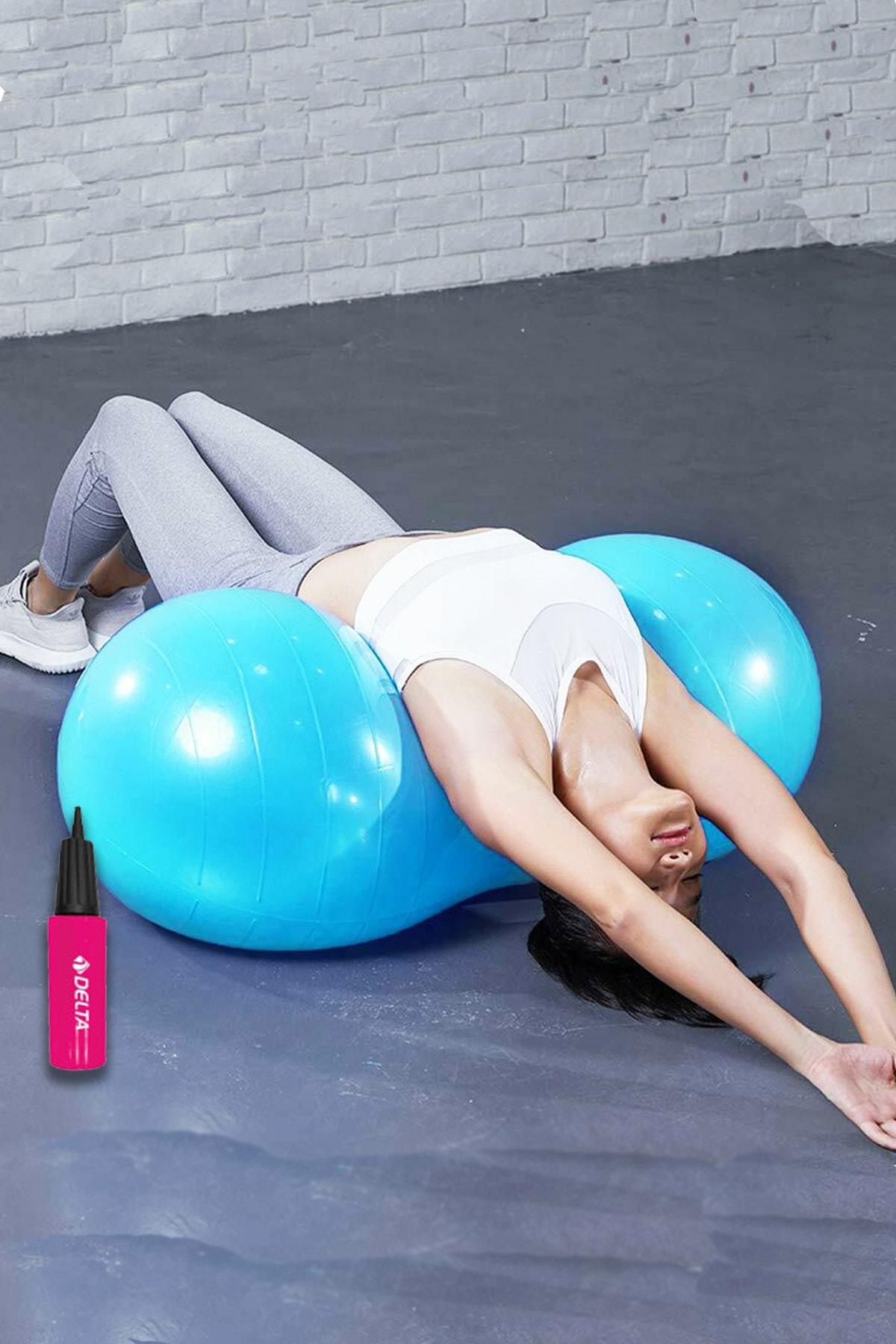 Delta Fıstık Top 90x45 cm Fıstık Şeklinde Pilates Topu Ve Şişirme Pompası Plates Fitness Seti Set 1