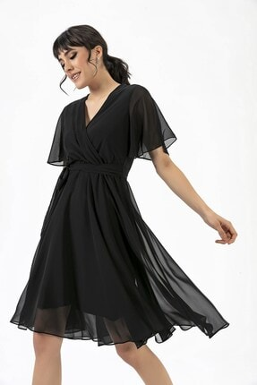 By Saygı Kruvaze Volan Kol Elbise Siyah