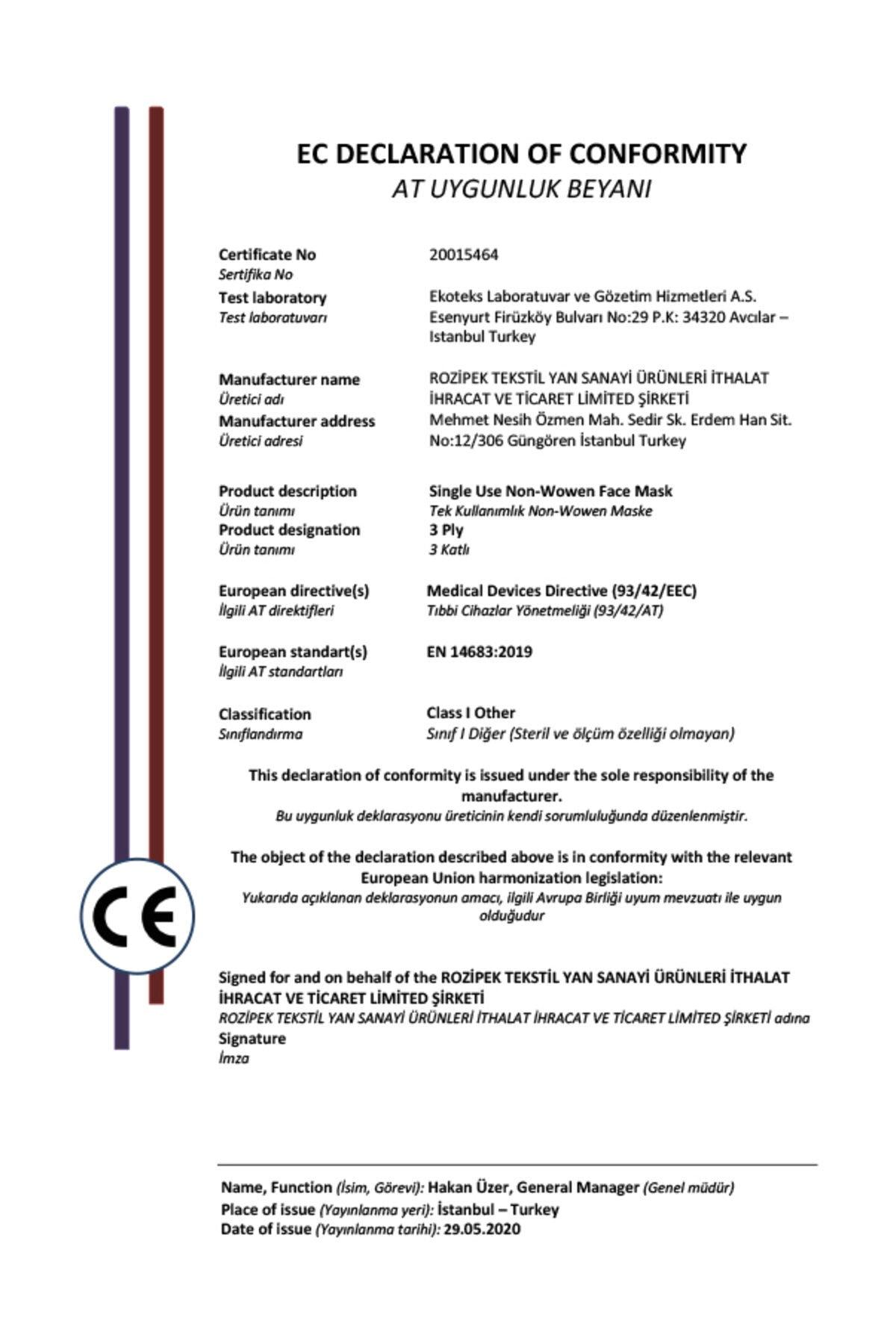 ROZ MASK 3 KATLI ULTRASONIC TELLİ LASTİKLİ CERRAHİ MASKE (50 Adet) 2