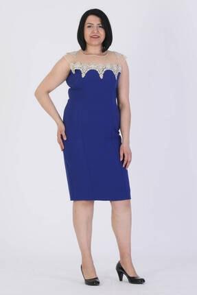 Günay Giyim Kadın Saks Mavi Kısa Abiye Elbise 27283200000102