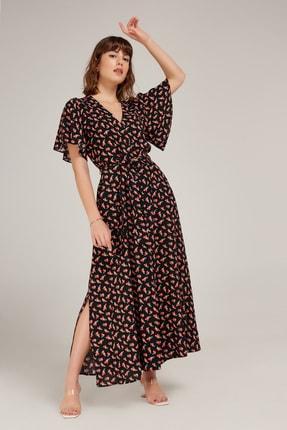 Appleline Kadın Siyah Çiçek Desenli Viskon Elbise
