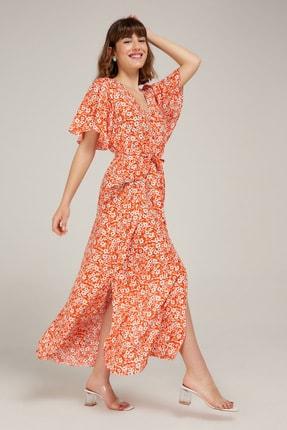Appleline Kadın Turuncu Çiçek Desenli Viskon Elbise