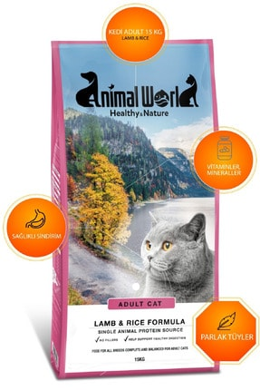 Animal World Adult Cat Kuzu Etli Ve Pirinçli Kedi Maması 15 Kg