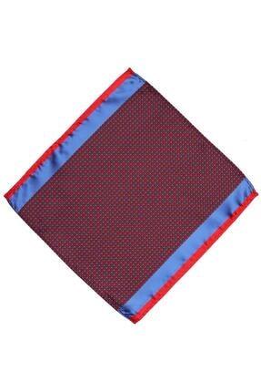 Kravatkolik Kırmızı - Mavi Nokta Desen Ceket Mendili Km426