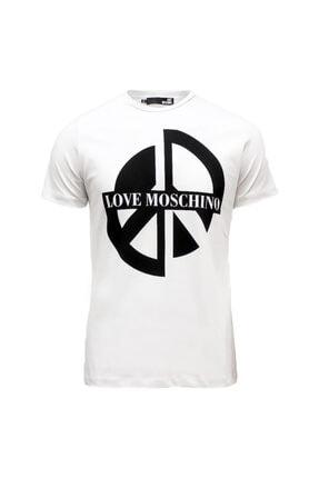 Love Moschino Baskılı Beyaz Erkek T-shırt