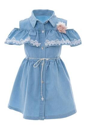AcarKids Kız Çocuk Elbise Çiçek Dantelli 5-8 Yaş
