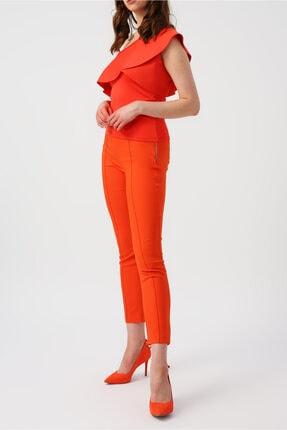 RANDOM Kadın Mercan Tek Omuzlu Yakası Fırfırlı Bluz