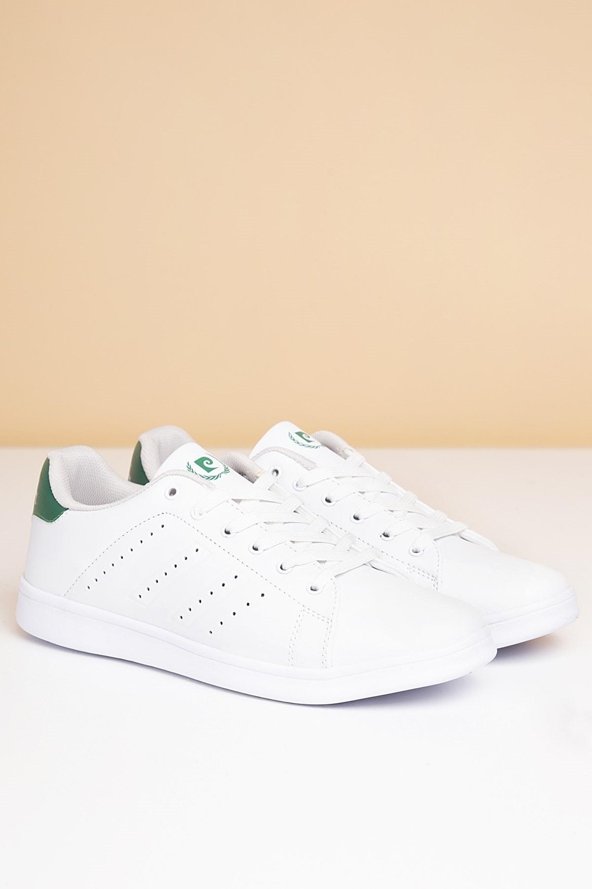 Pierre Cardin Erkek Günlük Spor Ayakkabı-Beyaz-Yesil PCS-10152 1