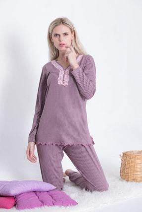 Pijama Denizi Kadın Dantel Yaka Düğmeli Pijama Takımı Dört Mevsimlik Vizon Pembe