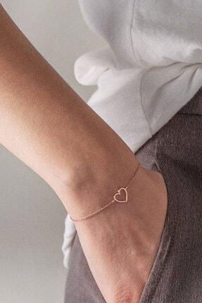 Papatya Silver 925 Ayar Gümüş Rose Altın Kaplama Kalp Bileklik