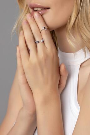 Modex Kadın Gümüş Rengi Zirkon Taşlı Melek Kanadı 2'li Yüzük