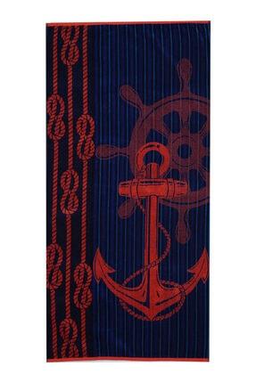 Özdilek Unisex Summer Heat Red Anchor Kadife 70x150 cm Plaj Havlusu