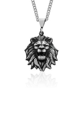 Gümüş Pazarım Aslan Başı Motifli Gümüş Erkek Kolyesi