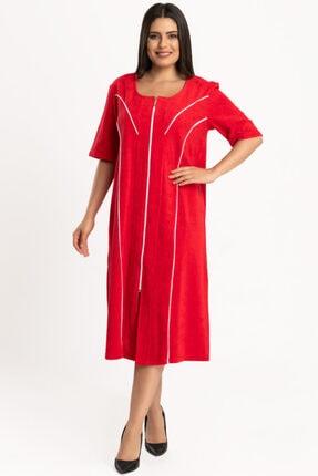 HEPİSİZE TEKSTİL Kadın  Kırmızı Pamuk Polyester Tek Taraflı Havlu Kumaş Ev Elbisesi