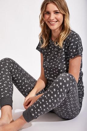 Happiness İst. Kadın Antrasit Yıldız Desenli Örme Alt Üst Pijama Takım Cn00086