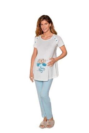 Berrak 897 Bayan Hamile Lohusa Pijama Takımı Mavi