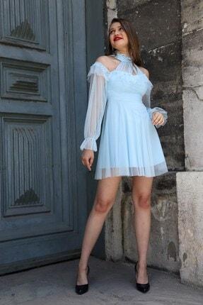 Shine İstanbul Bebe Mavisi Kısa Tül Elbise