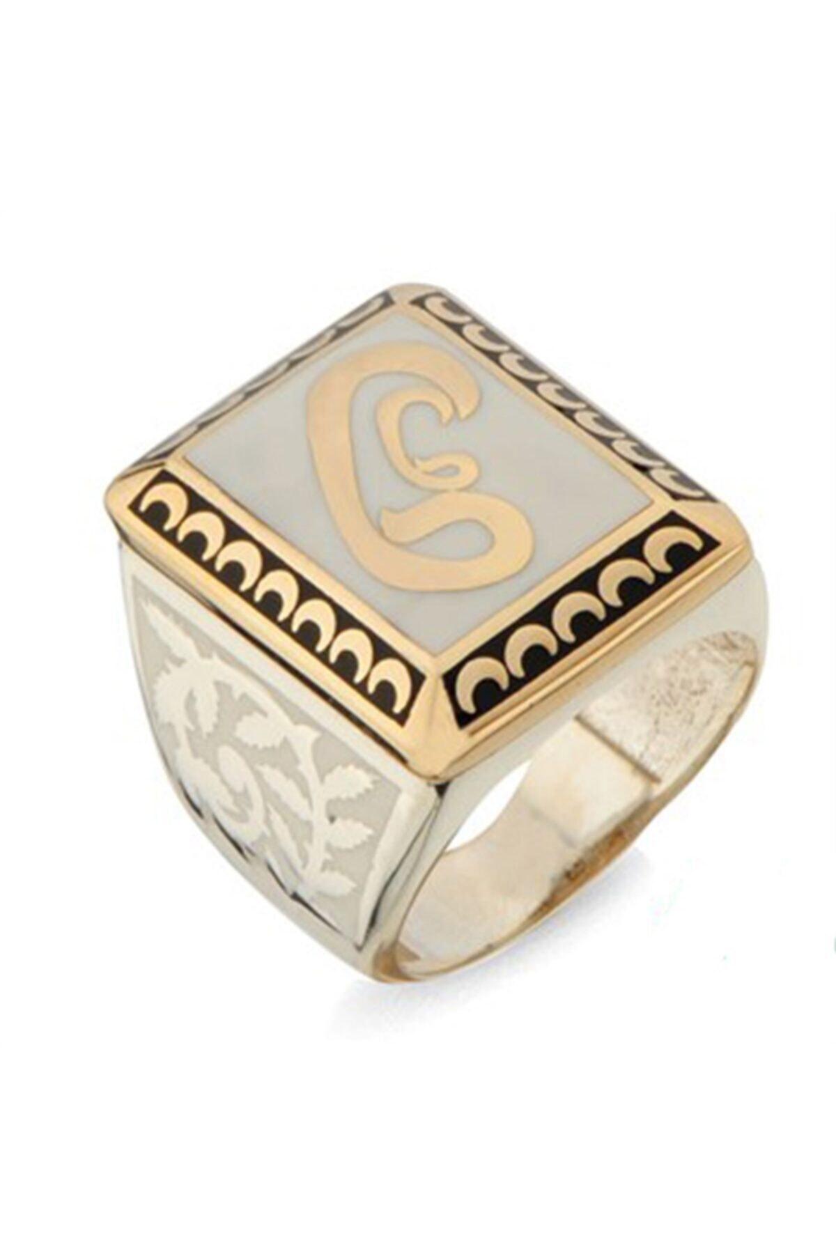 Nali Şerif Gümüş Kare Vav Harf Desenli Gümüş Erkek Yüzüğü 1
