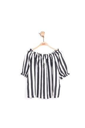 NK Kız Çocuk Çizgili Omuzları Lastikli Bluz