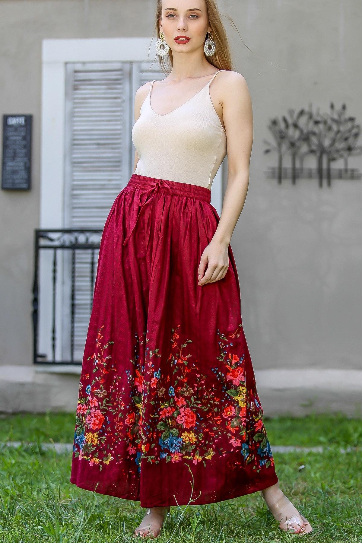 Chiccy Kadın Bordo Vintage Fisto Romantik Çiçek Baskılı Uzun Etek M10110000Et99380