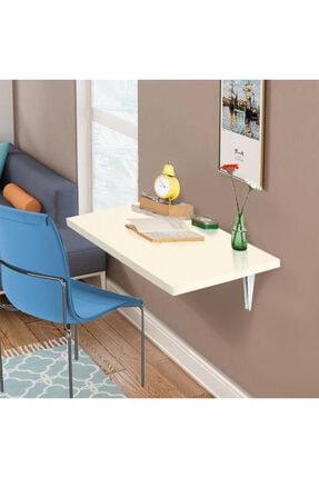 ACELYA Duvara Monteli Katlanır Mutfak Masası Çalışma Masası 45x70cm 25mm Kalınlık Krem Renk