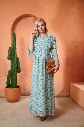 Görsin Hamile Kadın Desenli Uzun Hamile Mint Kadın Elbise