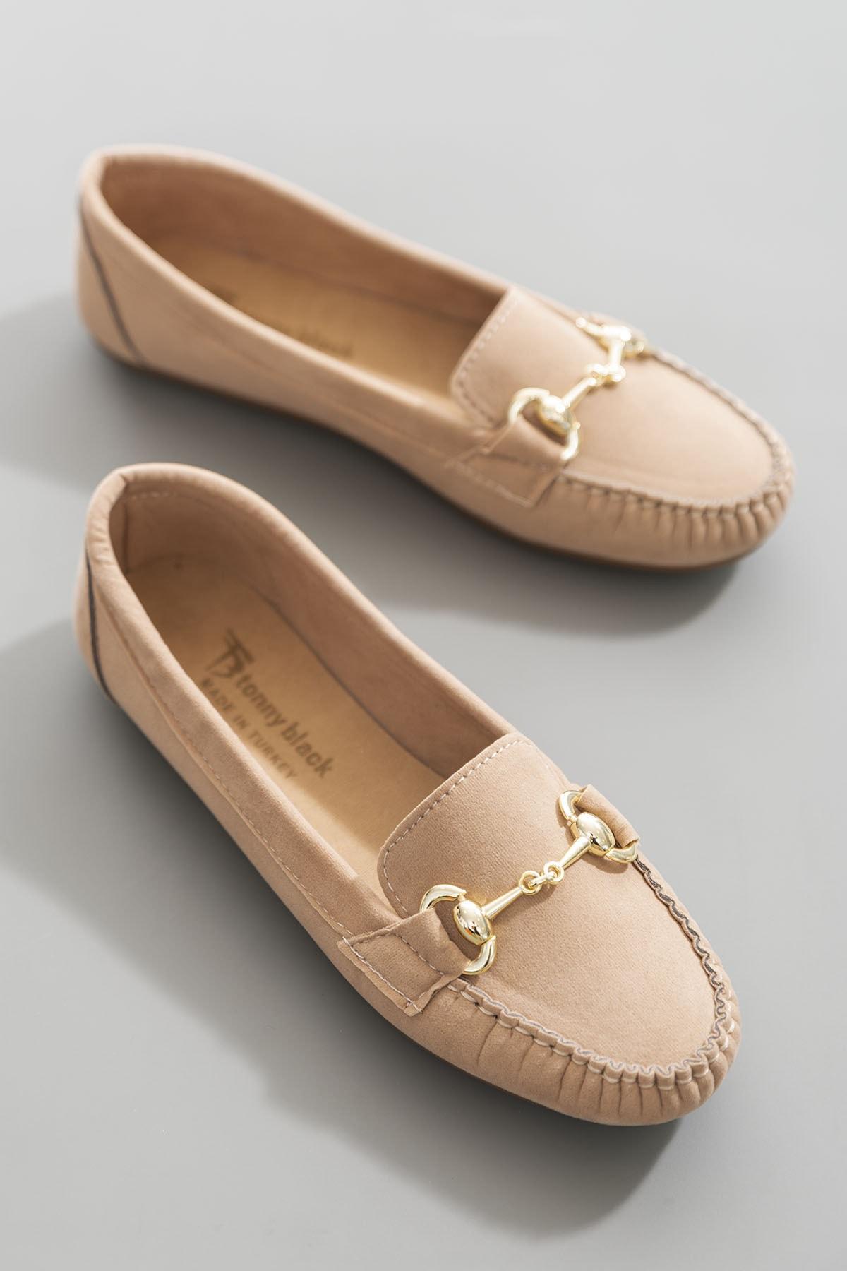 Tonny Black Sarı Süet Kadın Loafer Ayakkabı TB1200-1 1